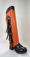 HogGaiters Orange with Black Trim and 3-Conchos Waterproof Leg Protection