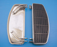 V-Twin Manufacturing Chrome 'D' Shaped Footboard Set for FLH