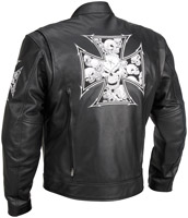River Road Iron Cross Graphix Leather Jacket