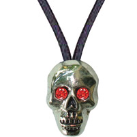 Creative Stirrup Red-Eyed Skull Pendant with Ruby Rhinestone