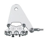 Performance Machine Chrome 4 Piston Classic  Rear Caliper and Bracket for Rigid Frames