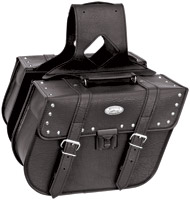 River Road Rigid Zip-Off Slant Studded Saddlebags with Security Lock