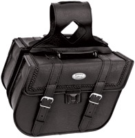 River Road Rigid Zip-Off Slant Braided Saddlebags with Security Lock