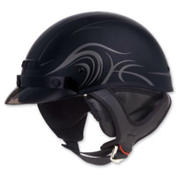GMAX GM35 Derk Flat Black Half Helmet Fully Dressed