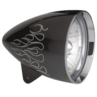 Headwinds 5-3/4″ Concours Rocket Headlight with Flames, Black Metal with Chrome Bezel