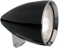 Headwinds 5-3/4″ Concours Rocket Headlight, Black Metal Housing with Chrome Bezel