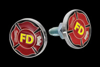 CAT LLC Fire Department Yellow Logo License Plate Bolts