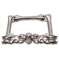Milwaukee Twins Chrome Skull License Plate Frame