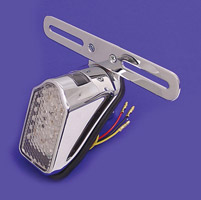 V-Twin Manufacturing Mini Tombstone LED Tailight Chrome With Bracket