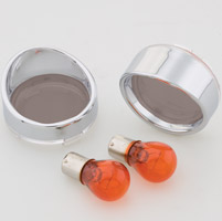 J&P Cycles® Turn Signal Lens and Bezel Kit with Smoked Rear Lenses and Amber Bulbs