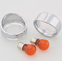 J&P Cycles® Turn Signal Lens and Bezel Kit with Clear Rear Lenses and Amber Bulbs