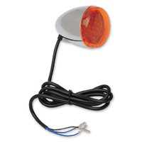 Front Turn Signal Assembly Chrome with Amber LED Stem Mount