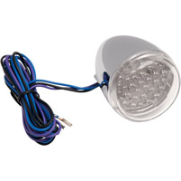 Rear Signal Light Chrome with Clear Lens and Red LED Stem Mount