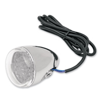 Rear Signal Light Chrome with Clear Lens and Red LED Bracket Mount