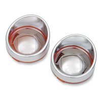 Amber Mirror Visor-Style Bezels and Lens for Deuce-Style Turn Signal