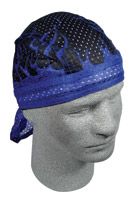 ZAN headgear Royal Blue Flames Vented Flydanna