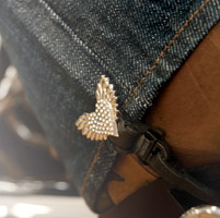 Biker Boot Straps Replacement Blinged Heart Clip