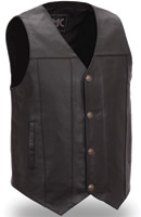 First Manufacturing Co. Men's Gun Runner Black Leather Vest
