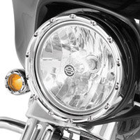 Arlen Ness Chrome Fire Ring with Clear LED Running Lights for 7
