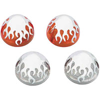Motor City Cycle Clear Front Turn Signal Lenses w/ Flames