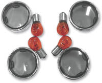 J&P Cycles® Smoke Turn Signal Lens Kit with Chrome Trim Ring