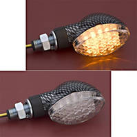 Carbon Fiber LED Mini Cateye Marker Light Amber Right