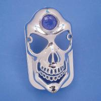 V-Twin Manufacturing Chrome Taillight Covers Skull with Blue Dot for Tombstone