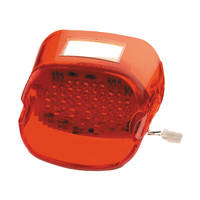 J&P Cycles® Custom Chome Red 'Laydown' Taillight Lens with LED Lights