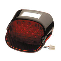 J&P Cycles® Red 'Blackout' 'Laydown' Taillight Lens with LED Lights