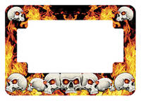 American Eastern Traders Skull and Flames License Plate Frame