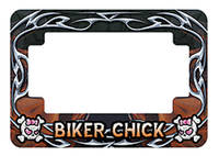 American Eastern Traders Orange Biker Chick License Plate Frame