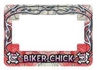 American Eastern Traders Off-White Biker Chick License Plate Frame