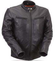 First Manufacturing Co. Men's Sleek Vented Leather Scooter Jacket