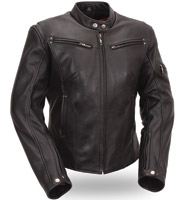 First Manufacturing Co. Women's Sleek Vented Leather Scooter Jacket