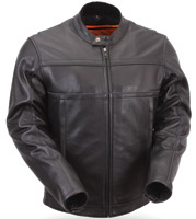 First Manufacturing Co. Men's Leather Scooter Jacket with Reflective Piping