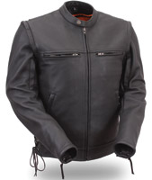 First Manufacturing Co. Men's Sleek Vented Scooter Zip Off Sleeve Jacket