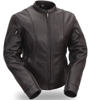 First Manufacturing Co. Women's Leather Side Buckled Racer Jacket