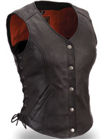 First Manufacturing Co. Women's Side Lace Classic Leather Vest