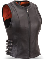 First Manufacturing Co. Women's Buckled Zip Front Leather Vest