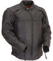 First Manufacturing Co. Men's Vented Leather Scooter Jacket with Reflective Piping
