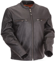 First Manufacturing Co. Men's Full Side Stretch Leather Scooter Jacket
