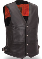 First Manufacturing Co. Men's Deep Pocket Leather Vest