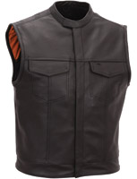 First Manufacturing Co. Men's Scooter Style Leather Vest