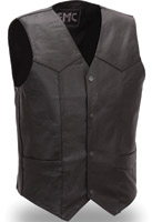 FMC Men's Classic Four Snap Leather Vest