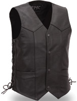 FMC Men's Classic Four Snap Leather Vest with Side Laces