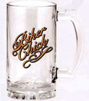Biker Chick Glass Beer Mug