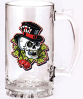 Gambler Skull Glass Beer Mug