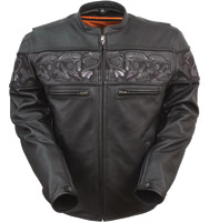 First Manufacturing Co. Reflective Skulls Leather Jacket