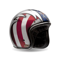 Bell Custom 500 Cobra Red, White, and Blue Open Face Helmet