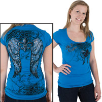 J&P Cycles® Winged and Rhinestone Cap-sleeve T-shirt